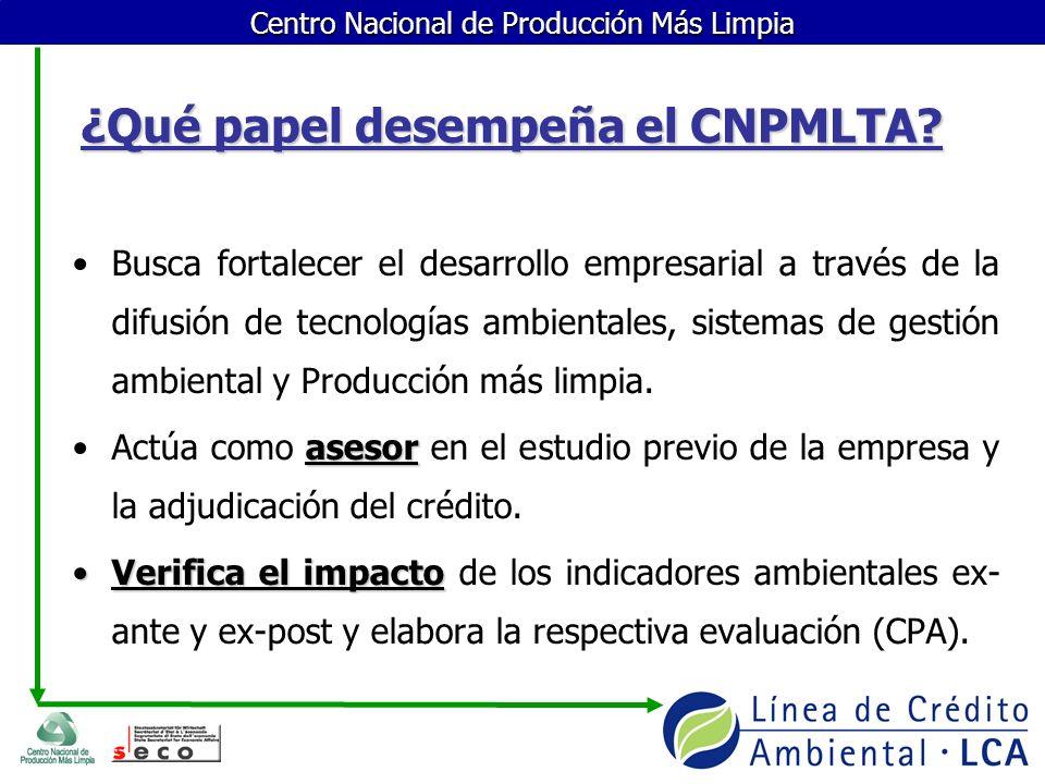 Centro Nacional de Producción Más Limpia ¿Qué papel desempeña el CNPMLTA? Busca fortalecer el desarrollo empresarial a través de la difusión de tecnol