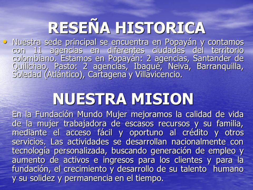 RESEÑA HISTORICA Nuestra sede principal se encuentra en Popayán y contamos con 11 agencias en diferentes ciudades del territorio colombiano.