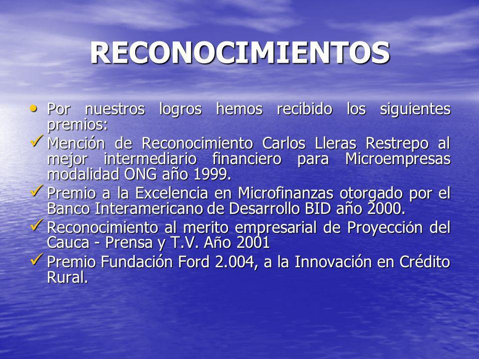 RECONOCIMIENTOS Por nuestros logros hemos recibido los siguientes premios: Por nuestros logros hemos recibido los siguientes premios: Mención de Reconocimiento Carlos Lleras Restrepo al mejor intermediario financiero para Microempresas modalidad ONG año 1999.