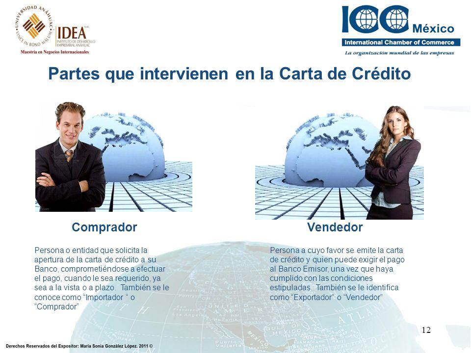 12 Partes que intervienen en la Carta de Crédito CompradorVendedor Persona o entidad que solicita la apertura de la carta de crédito a su Banco, compr