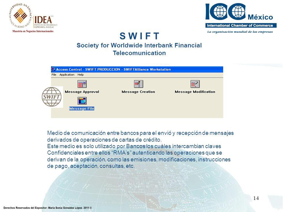14 S W I F T Society for Worldwide Interbank Financial Telecomunication Medio de comunicación entre bancos para el envió y recepción de mensajes deriv