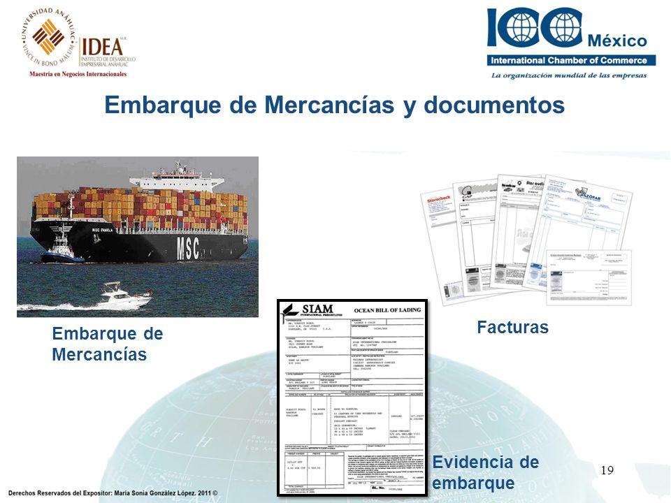 19 Embarque de Mercancías y documentos Embarque de Mercancías Facturas Evidencia de embarque