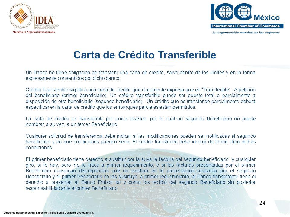 24 Un Banco no tiene obligación de transferir una carta de crédito, salvo dentro de los límites y en la forma expresamente consentidos por dicho banco