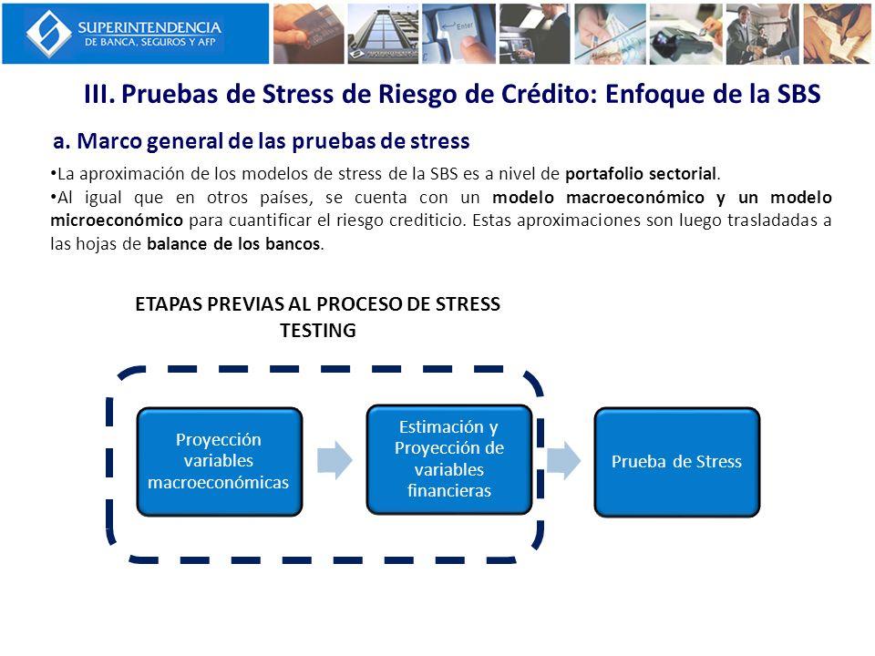 III. Pruebas de Stress de Riesgo de Crédito: Enfoque de la SBS a. Marco general de las pruebas de stress La aproximación de los modelos de stress de l
