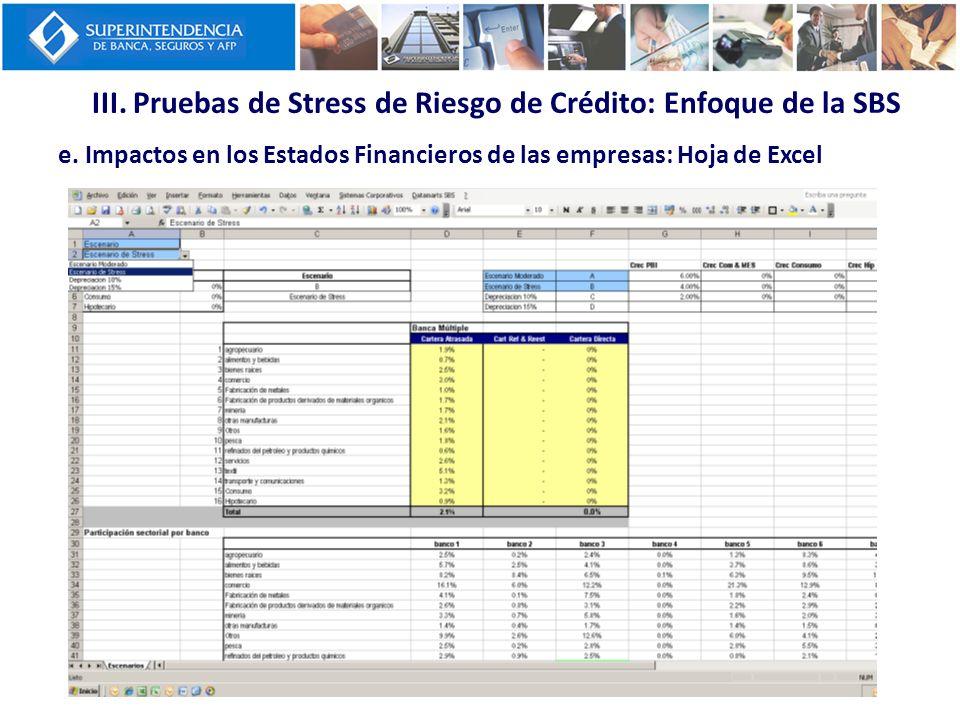 III. Pruebas de Stress de Riesgo de Crédito: Enfoque de la SBS e. Impactos en los Estados Financieros de las empresas: Hoja de Excel