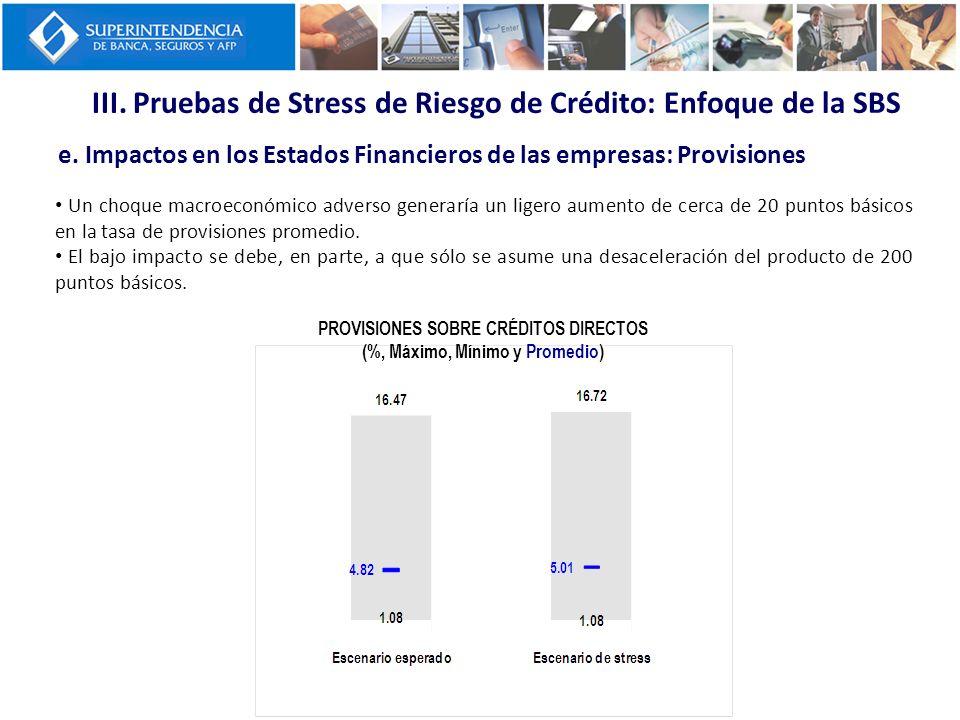 III. Pruebas de Stress de Riesgo de Crédito: Enfoque de la SBS e. Impactos en los Estados Financieros de las empresas: Provisiones PROVISIONES SOBRE C