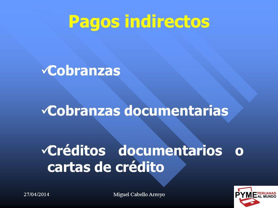 27/04/2014Miguel Cabello Arroyo16 Pagos indirectos Cobranzas Cobranzas documentarias Créditos documentarios o cartas de crédito