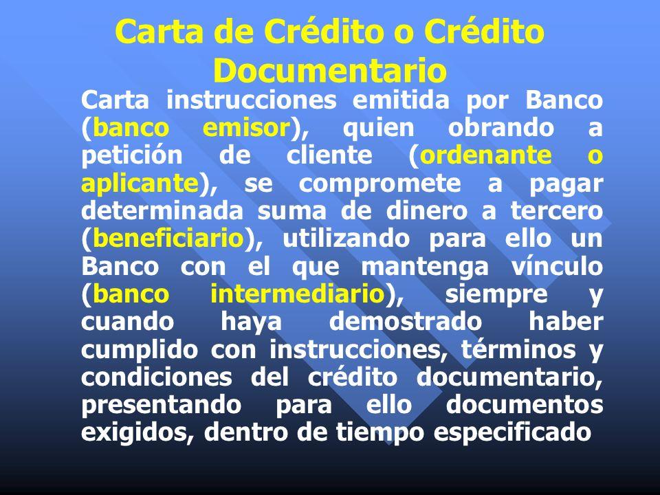 Carta de Crédito o Crédito Documentario Carta instrucciones emitida por Banco (banco emisor), quien obrando a petición de cliente (ordenante o aplican