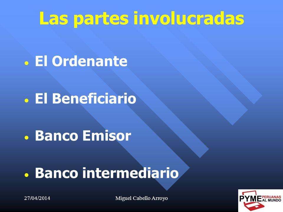 27/04/2014Miguel Cabello Arroyo26 Las partes involucradas El Ordenante El Beneficiario Banco Emisor Banco intermediario