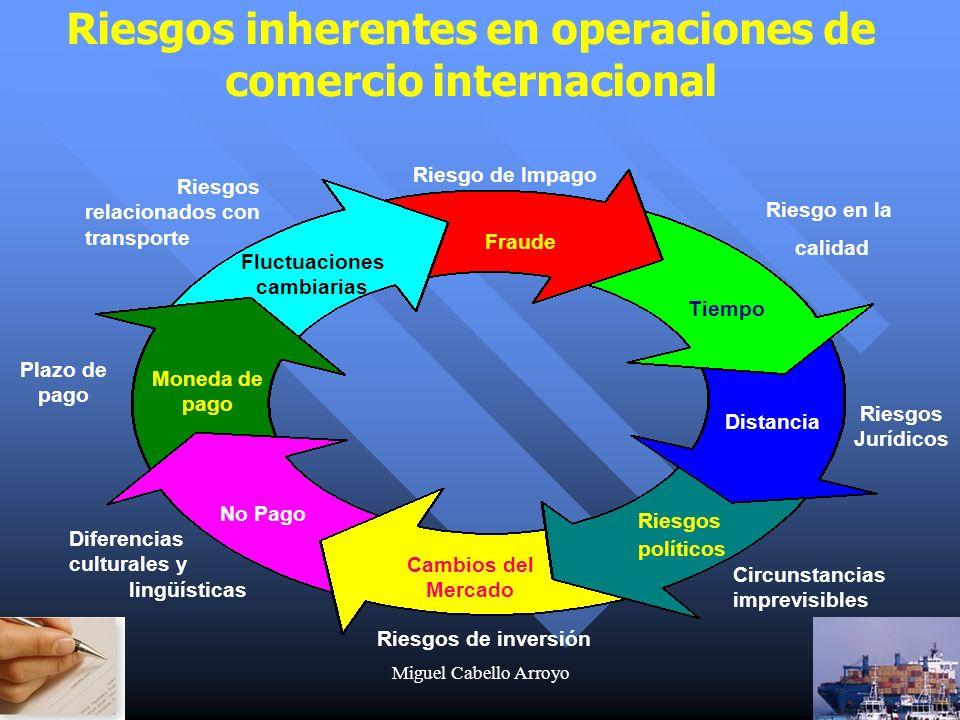 Miguel Cabello Arroyo4 Fluctuaciones cambiarias Fraude Tiempo Distancia Cambios del Mercado Moneda de pago Riesgos políticos No Pago Riesgos relaciona