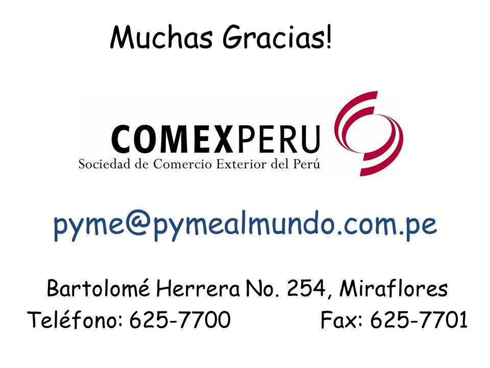 Muchas Gracias! Bartolomé Herrera No. 254, Miraflores Teléfono: 625-7700Fax: 625-7701 pyme@pymealmundo.com.pe