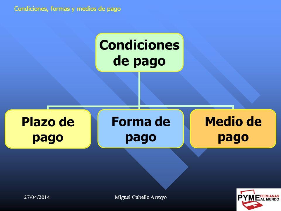 27/04/2014Miguel Cabello Arroyo9 Condiciones, formas y medios de pago Condiciones de pago Plazo de pago Forma de pago Medio de pago