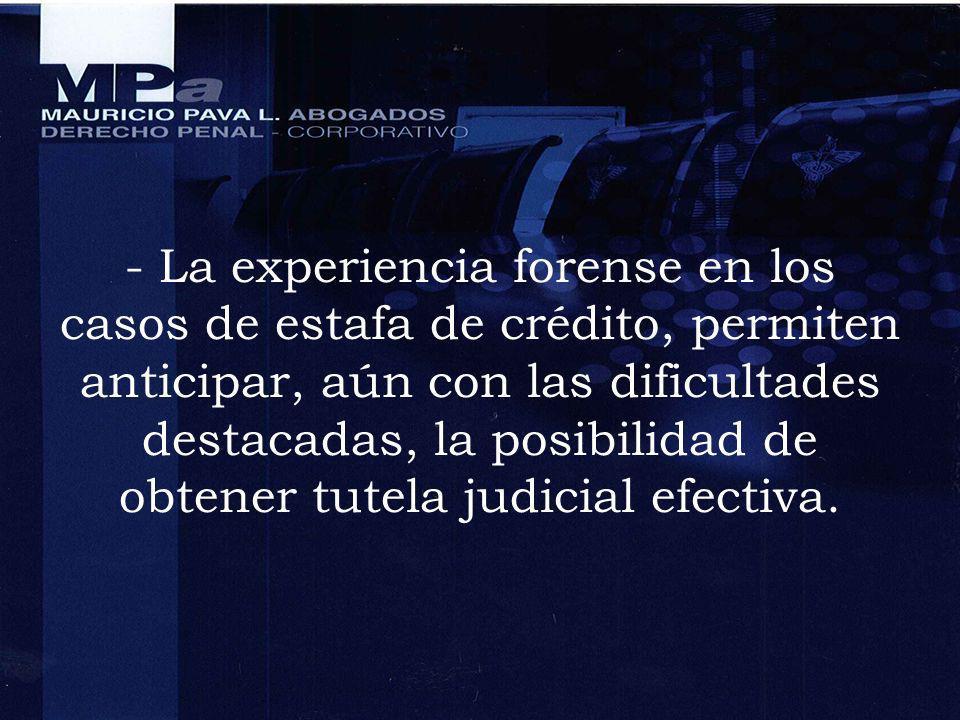 - La experiencia forense en los casos de estafa de crédito, permiten anticipar, aún con las dificultades destacadas, la posibilidad de obtener tutela