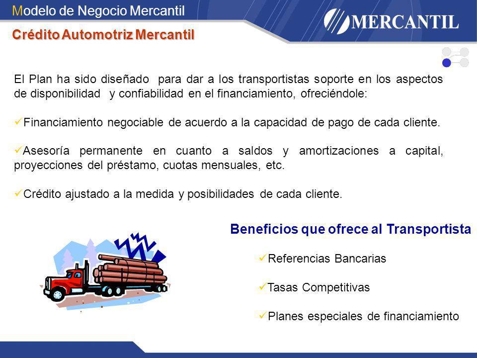 Modelo de Negocio Mercantil Crédito Automotriz Mercantil El Plan ha sido diseñado para dar a los transportistas soporte en los aspectos de disponibili