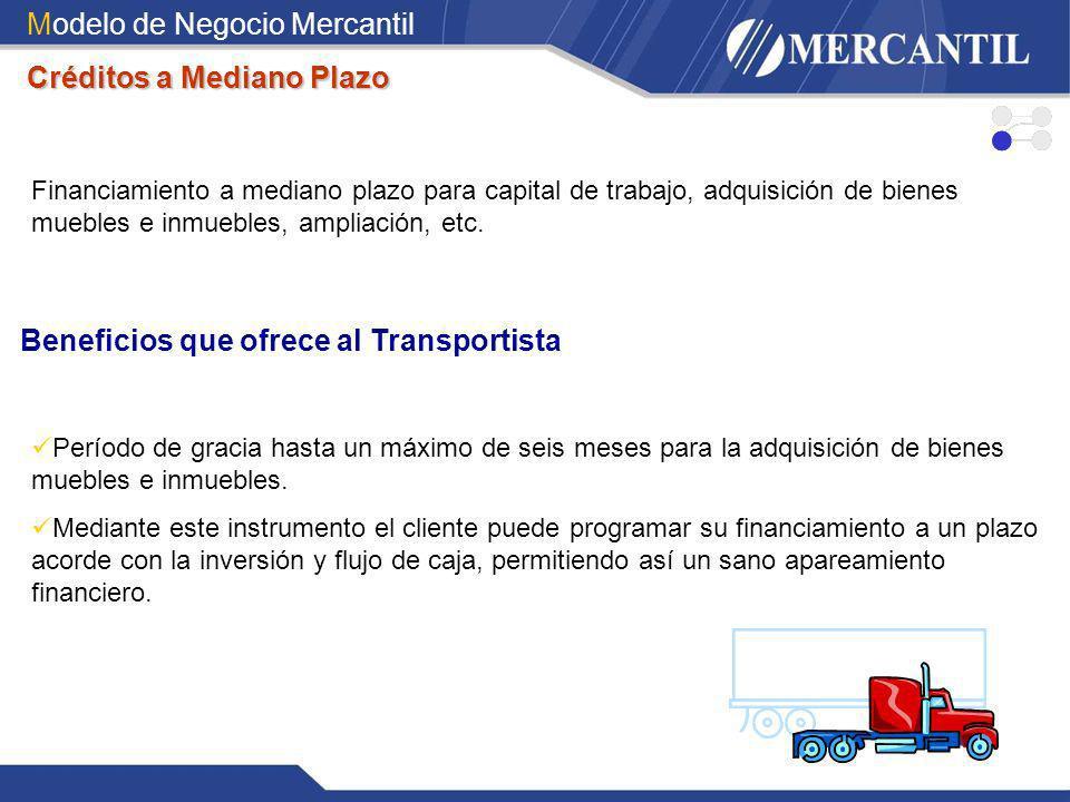Modelo de Negocio Mercantil Créditos a Mediano Plazo Financiamiento a mediano plazo para capital de trabajo, adquisición de bienes muebles e inmuebles