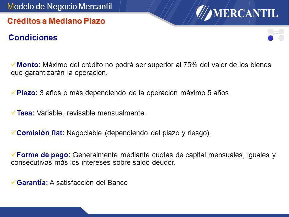 Modelo de Negocio Mercantil Condiciones Créditos a Mediano Plazo Monto: Máximo del crédito no podrá ser superior al 75% del valor de los bienes que ga