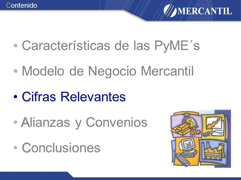 Características de las PyME´s Modelo de Negocio Mercantil C Cifras Relevantes A Alianzas y Convenios C Conclusiones Contenido