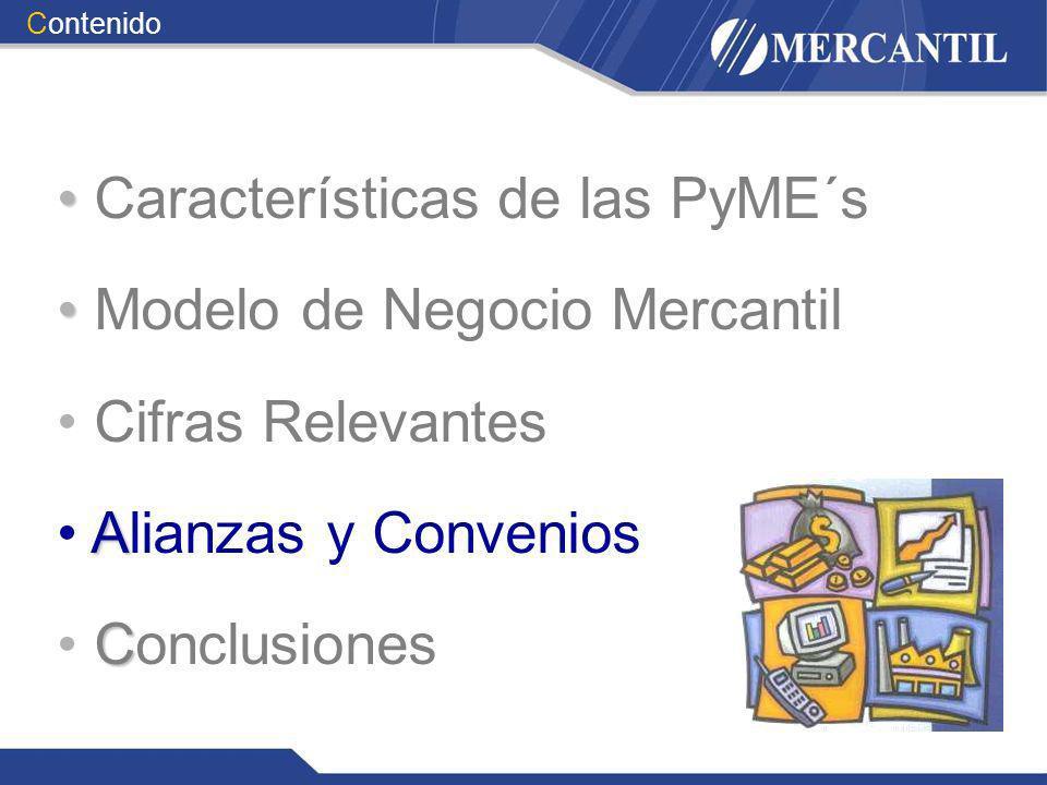 Características de las PyME´s Modelo de Negocio Mercantil Cifras Relevantes A Alianzas y Convenios C Conclusiones Contenido