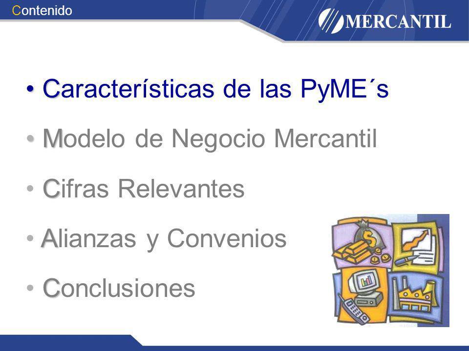 C Características de las PyME´s M Modelo de Negocio Mercantil C Cifras Relevantes A Alianzas y Convenios C Conclusiones Contenido
