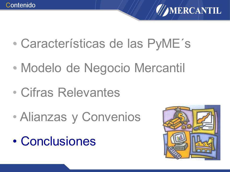Características de las PyME´s Modelo de Negocio Mercantil Cifras Relevantes Alianzas y Convenios Conclusiones Contenido