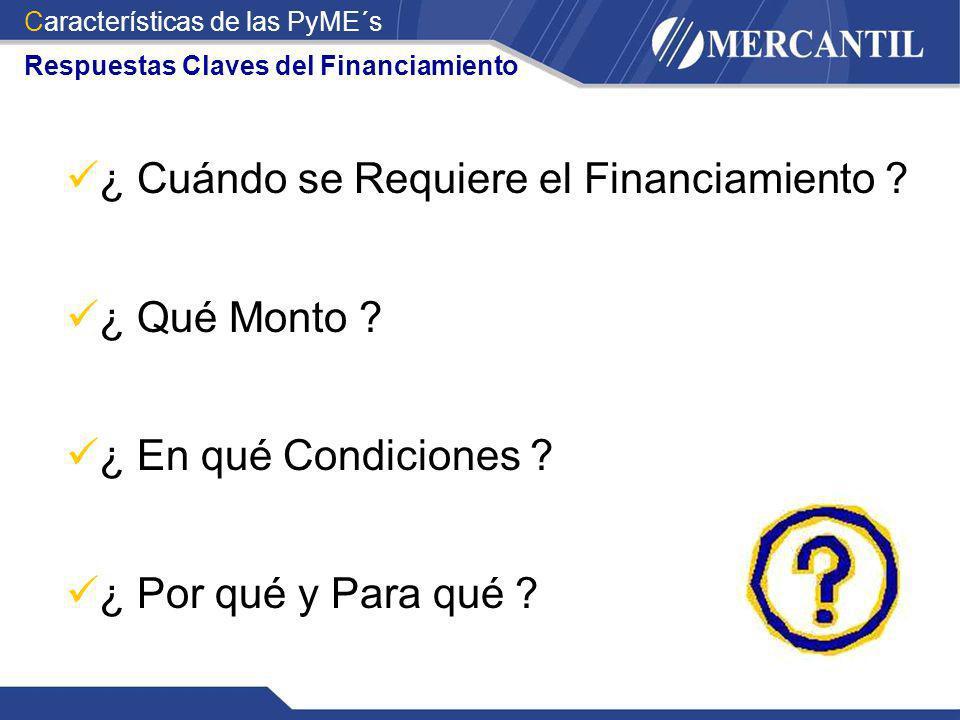 Respuestas Claves del Financiamiento ¿ Cuándo se Requiere el Financiamiento ? ¿ Qué Monto ? ¿ En qué Condiciones ? ¿ Por qué y Para qué ? Característi