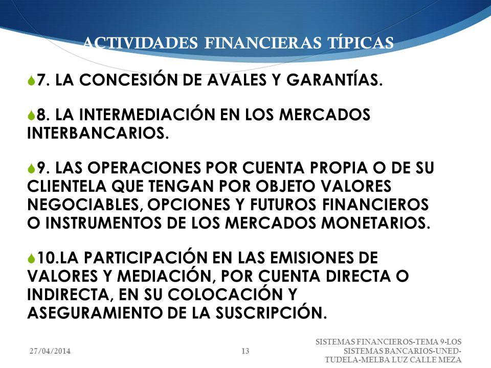 ACTIVIDADES FINANCIERAS TÍPICAS 7. LA CONCESIÓN DE AVALES Y GARANTÍAS. 8. LA INTERMEDIACIÓN EN LOS MERCADOS INTERBANCARIOS. 9. LAS OPERACIONES POR CUE