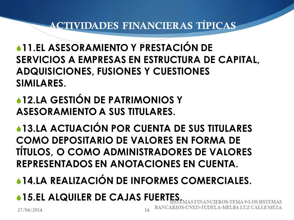 ACTIVIDADES FINANCIERAS TÍPICAS 11.EL ASESORAMIENTO Y PRESTACIÓN DE SERVICIOS A EMPRESAS EN ESTRUCTURA DE CAPITAL, ADQUISICIONES, FUSIONES Y CUESTIONE