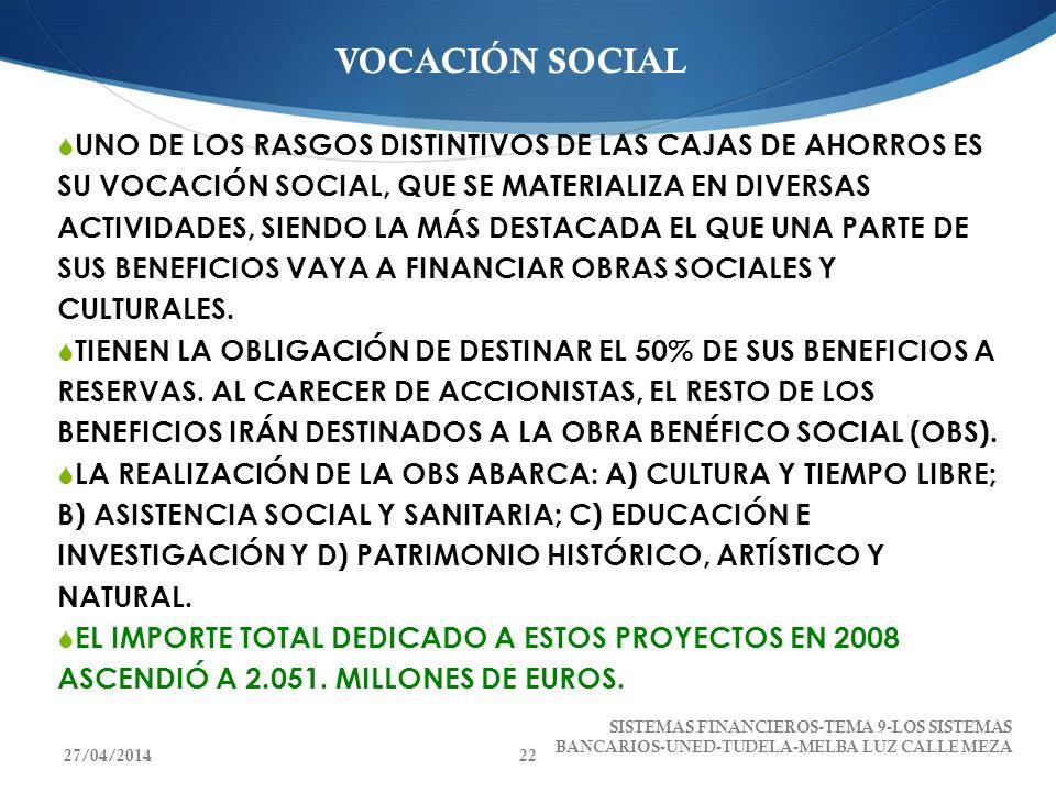 VOCACIÓN SOCIAL UNO DE LOS RASGOS DISTINTIVOS DE LAS CAJAS DE AHORROS ES SU VOCACIÓN SOCIAL, QUE SE MATERIALIZA EN DIVERSAS ACTIVIDADES, SIENDO LA MÁS