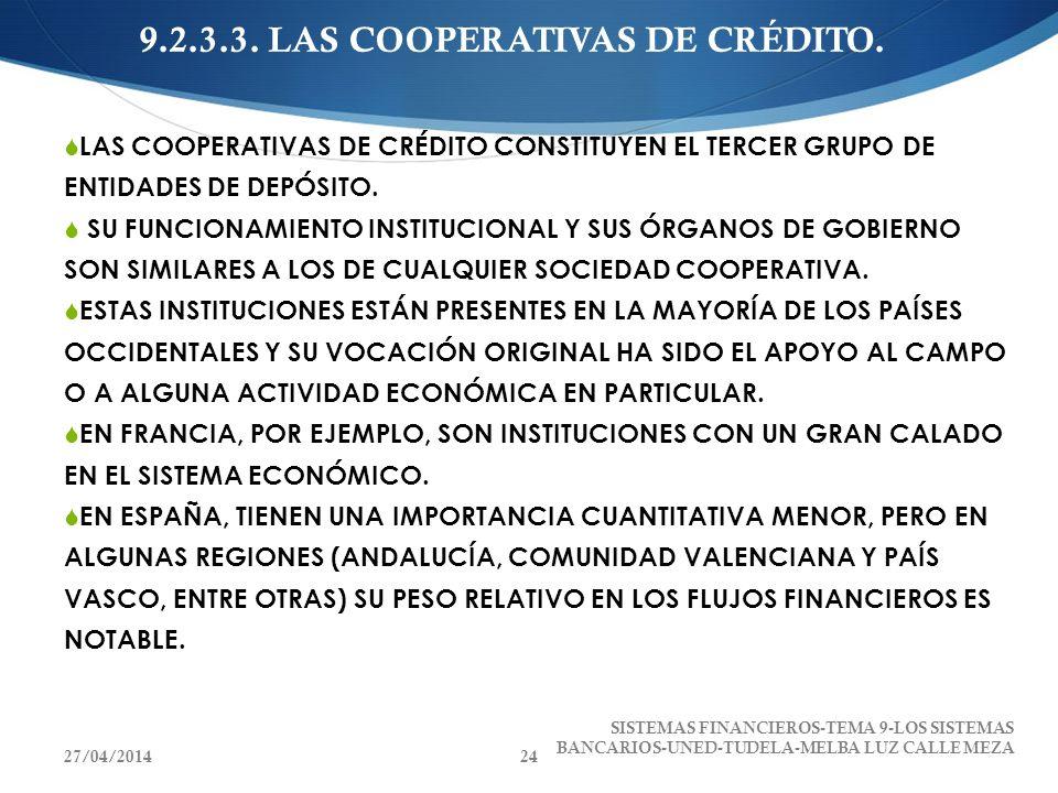 9.2.3.3. LAS COOPERATIVAS DE CRÉDITO. LAS COOPERATIVAS DE CRÉDITO CONSTITUYEN EL TERCER GRUPO DE ENTIDADES DE DEPÓSITO. SU FUNCIONAMIENTO INSTITUCIONA