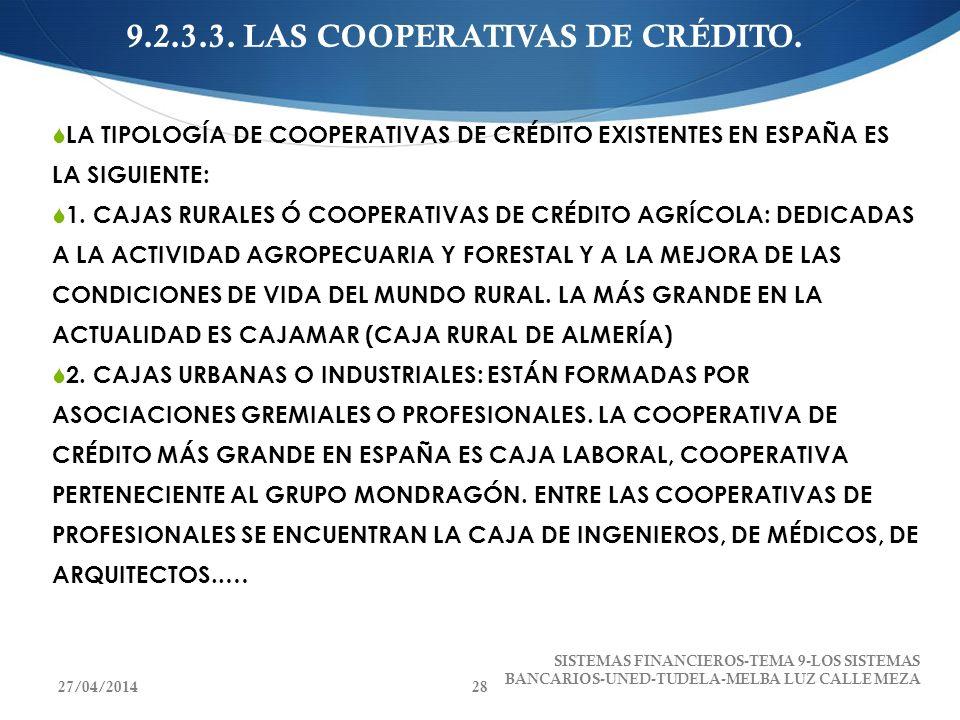 9.2.3.3. LAS COOPERATIVAS DE CRÉDITO. LA TIPOLOGÍA DE COOPERATIVAS DE CRÉDITO EXISTENTES EN ESPAÑA ES LA SIGUIENTE: 1. CAJAS RURALES Ó COOPERATIVAS DE