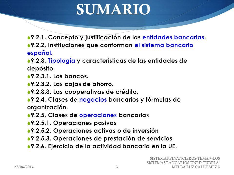 CUESTIONES CLAVE POR QUÉ EXISTEN LOS BANCOS FUNCIÓN EN LA ECONOMÍA DIFERENCIAS ENTRE BANCOS, CAJAS DE AHORRO Y COOPERATIVAS DE CRÉDITO PRINCIPALES NEGOCIOS DE UNA ENTIDAD BANCARIA PRINCIPIOS DE LA SEGUNDA DIRECTIVA DE COORDINACIÓN BANCARIA VOCACIÓN REGIONAL DE LAS CAJAS DE AHORRO Y COOPERATIVAS DE CRÉDITO OBRA BENÉFICO SOCIAL 27/04/20144 SISTEMAS FINANCIEROS-TEMA 9-LOS SISTEMAS BANCARIOS-UNED- TUDELA-MELBA LUZ CALLE MEZA