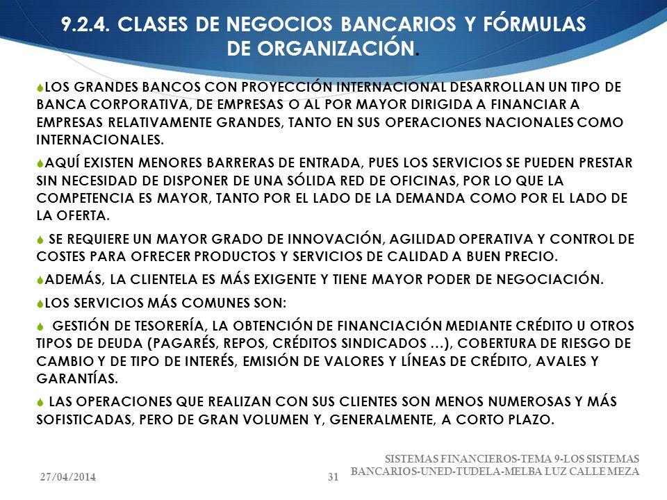 9.2.4. CLASES DE NEGOCIOS BANCARIOS Y FÓRMULAS DE ORGANIZACIÓN. LOS GRANDES BANCOS CON PROYECCIÓN INTERNACIONAL DESARROLLAN UN TIPO DE BANCA CORPORATI