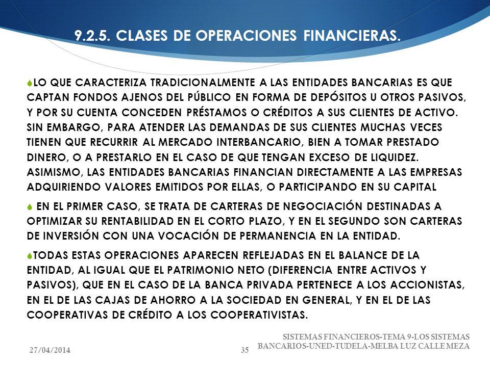 9.2.5. CLASES DE OPERACIONES FINANCIERAS. LO QUE CARACTERIZA TRADICIONALMENTE A LAS ENTIDADES BANCARIAS ES QUE CAPTAN FONDOS AJENOS DEL PÚBLICO EN FOR