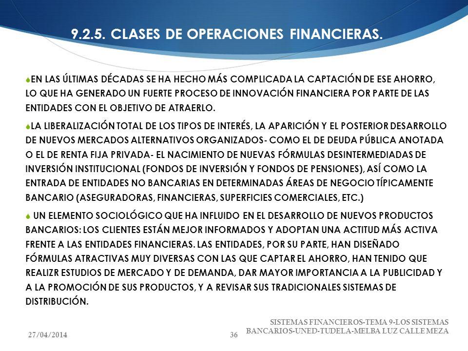 9.2.5. CLASES DE OPERACIONES FINANCIERAS. EN LAS ÚLTIMAS DÉCADAS SE HA HECHO MÁS COMPLICADA LA CAPTACIÓN DE ESE AHORRO, LO QUE HA GENERADO UN FUERTE P