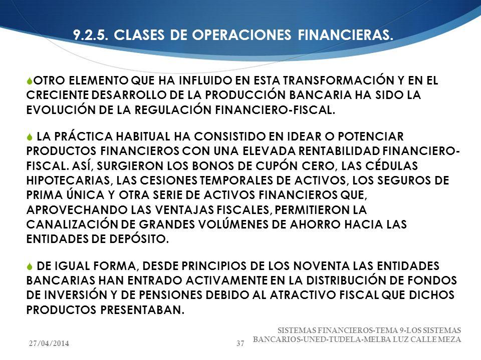 9.2.5. CLASES DE OPERACIONES FINANCIERAS. OTRO ELEMENTO QUE HA INFLUIDO EN ESTA TRANSFORMACIÓN Y EN EL CRECIENTE DESARROLLO DE LA PRODUCCIÓN BANCARIA