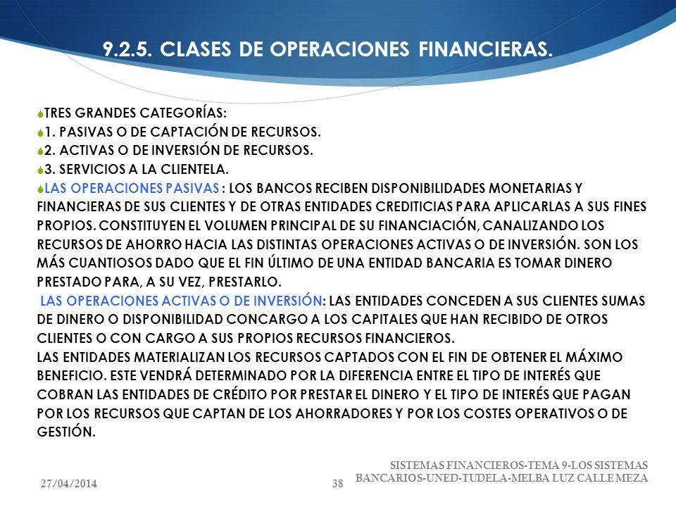 9.2.5. CLASES DE OPERACIONES FINANCIERAS. TRES GRANDES CATEGORÍAS: 1. PASIVAS O DE CAPTACIÓN DE RECURSOS. 2. ACTIVAS O DE INVERSIÓN DE RECURSOS. 3. SE
