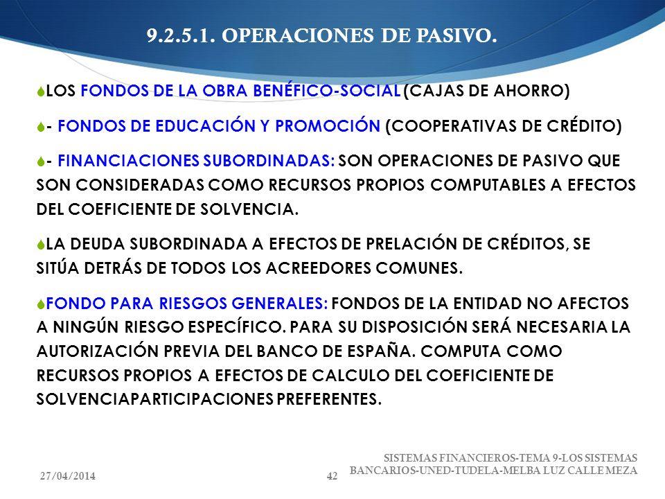 9.2.5.1. OPERACIONES DE PASIVO. LOS FONDOS DE LA OBRA BENÉFICO-SOCIAL (CAJAS DE AHORRO) - FONDOS DE EDUCACIÓN Y PROMOCIÓN (COOPERATIVAS DE CRÉDITO) -