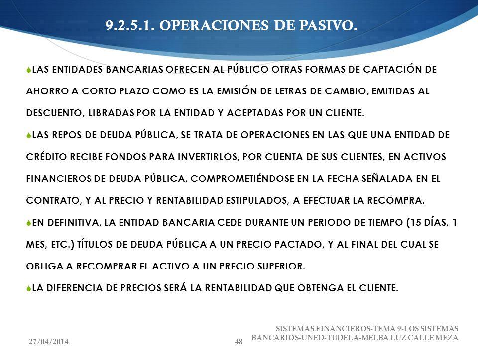9.2.5.1. OPERACIONES DE PASIVO. LAS ENTIDADES BANCARIAS OFRECEN AL PÚBLICO OTRAS FORMAS DE CAPTACIÓN DE AHORRO A CORTO PLAZO COMO ES LA EMISIÓN DE LET