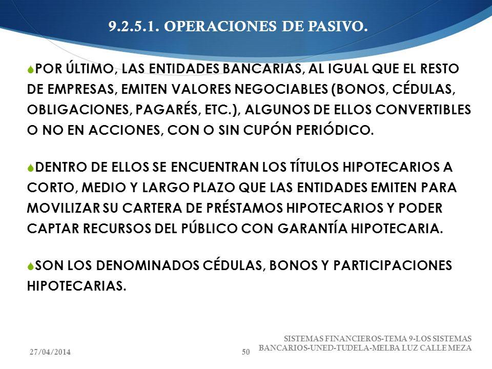 9.2.5.1. OPERACIONES DE PASIVO. POR ÚLTIMO, LAS ENTIDADES BANCARIAS, AL IGUAL QUE EL RESTO DE EMPRESAS, EMITEN VALORES NEGOCIABLES (BONOS, CÉDULAS, OB