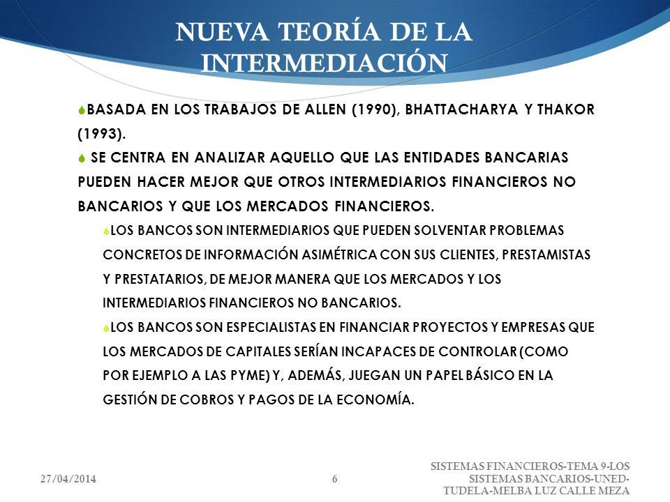NUEVA TEORÍA DE LA INTERMEDIACIÓN BASADA EN LOS TRABAJOS DE ALLEN (1990), BHATTACHARYA Y THAKOR (1993). SE CENTRA EN ANALIZAR AQUELLO QUE LAS ENTIDADE