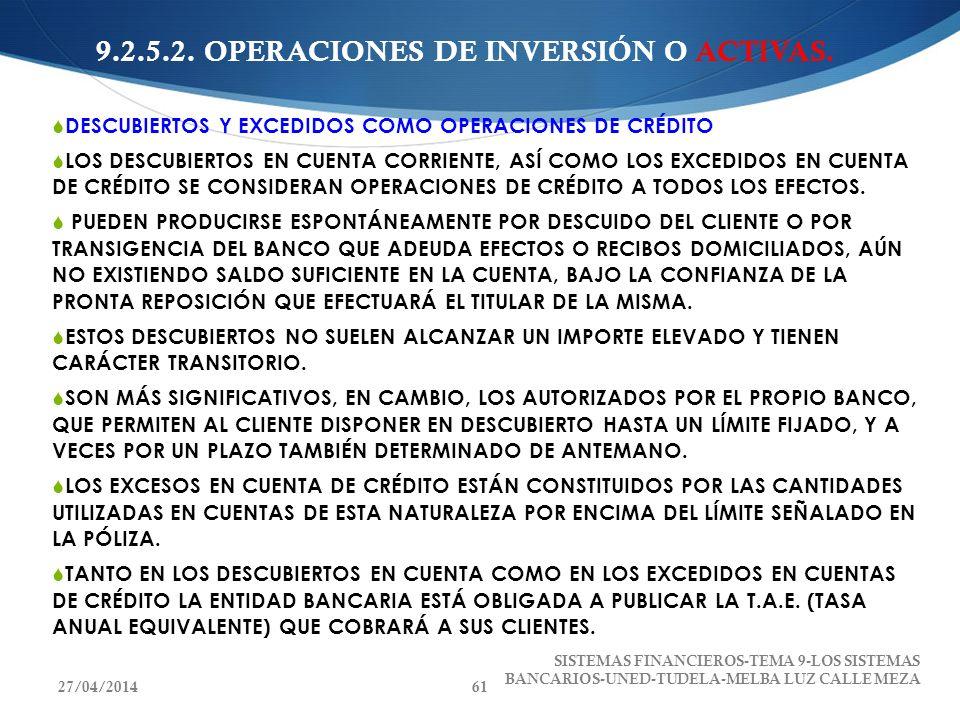 9.2.5.2. OPERACIONES DE INVERSIÓN O ACTIVAS. DESCUBIERTOS Y EXCEDIDOS COMO OPERACIONES DE CRÉDITO LOS DESCUBIERTOS EN CUENTA CORRIENTE, ASÍ COMO LOS E