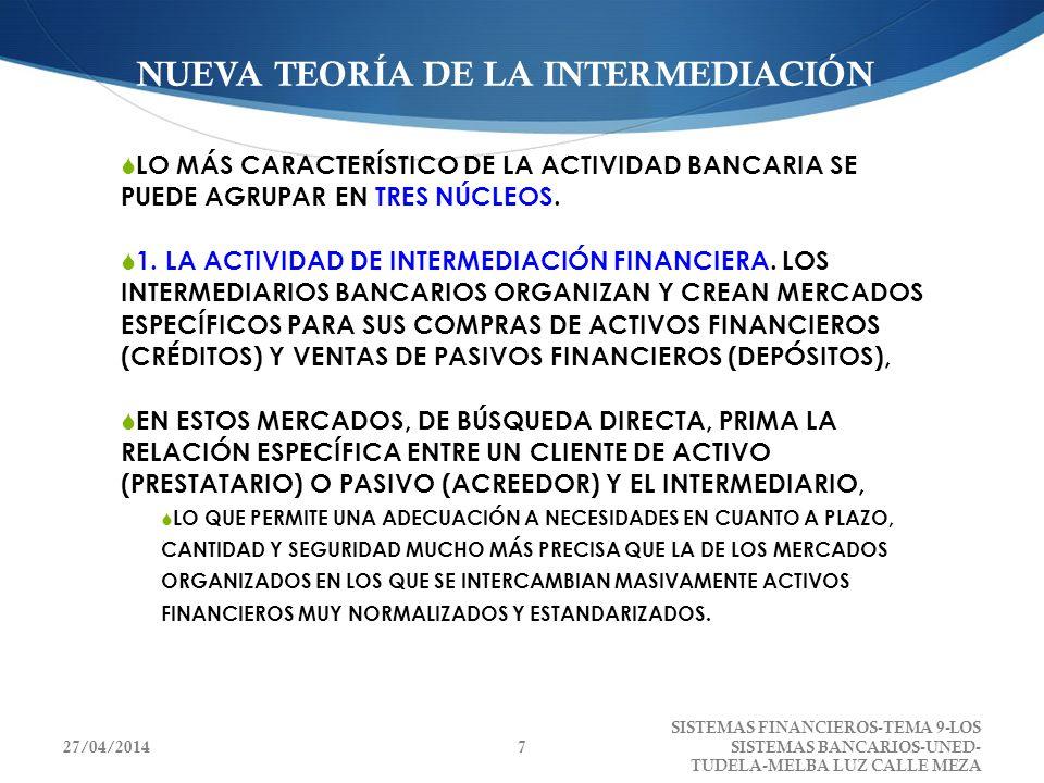 NUEVA TEORÍA DE LA INTERMEDIACIÓN LO MÁS CARACTERÍSTICO DE LA ACTIVIDAD BANCARIA SE PUEDE AGRUPAR EN TRES NÚCLEOS. 1. LA ACTIVIDAD DE INTERMEDIACIÓN F