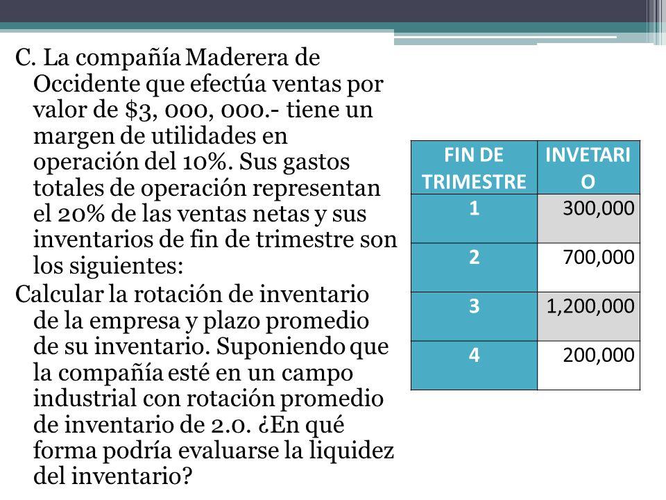 C. La compañía Maderera de Occidente que efectúa ventas por valor de $3, 000, 000.- tiene un margen de utilidades en operación del 10%. Sus gastos tot
