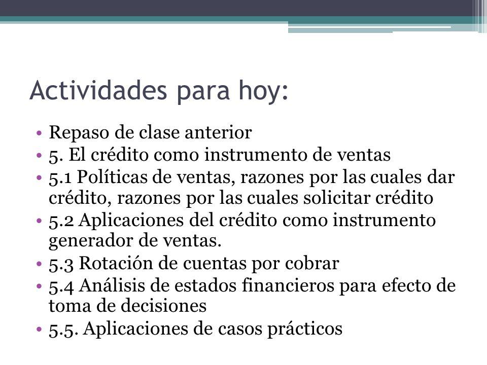 Actividades para hoy: Repaso de clase anterior 5. El crédito como instrumento de ventas 5.1 Políticas de ventas, razones por las cuales dar crédito, r