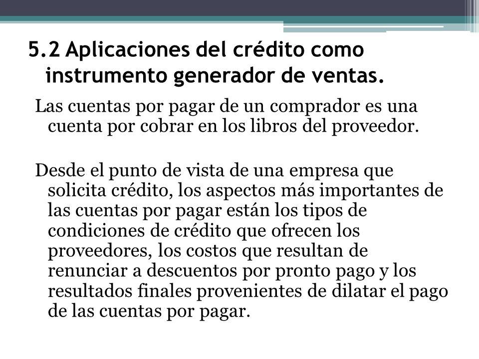 5.2 Aplicaciones del crédito como instrumento generador de ventas. Las cuentas por pagar de un comprador es una cuenta por cobrar en los libros del pr
