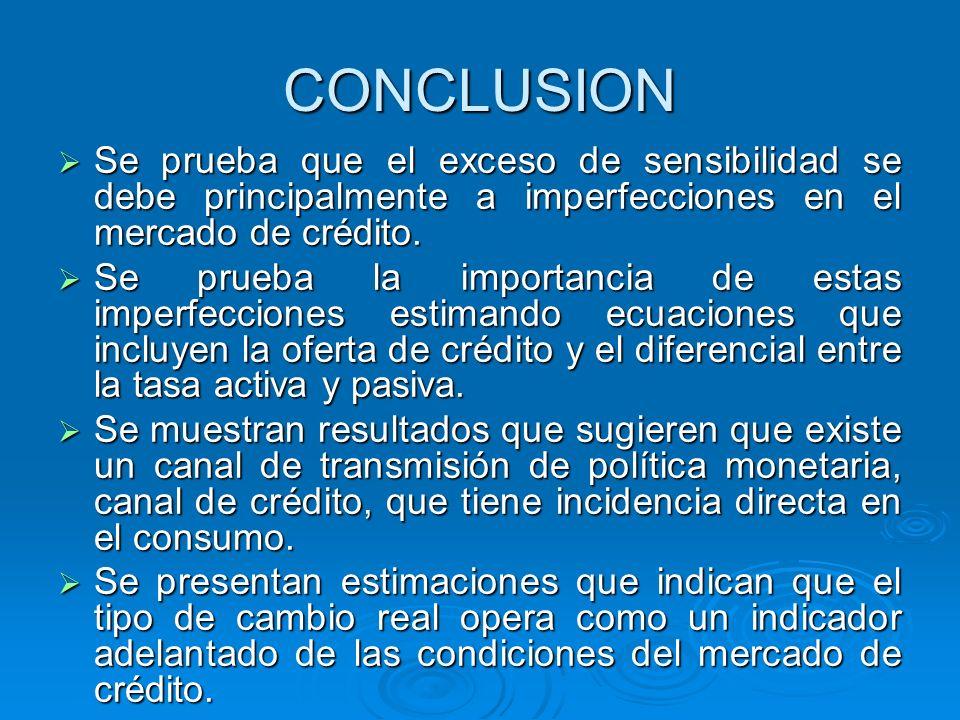 CONCLUSION Se prueba que el exceso de sensibilidad se debe principalmente a imperfecciones en el mercado de crédito. Se prueba que el exceso de sensib