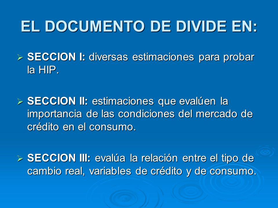 EL DOCUMENTO DE DIVIDE EN: SECCION I: diversas estimaciones para probar la HIP. SECCION I: diversas estimaciones para probar la HIP. SECCION II: estim