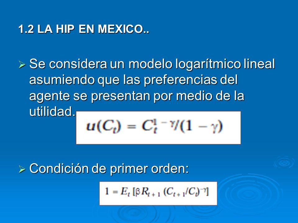 1.2 LA HIP EN MEXICO.. Se considera un modelo logarítmico lineal asumiendo que las preferencias del agente se presentan por medio de la utilidad. Se c