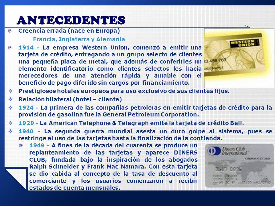 ANTECEDENTES Prestigiosos hoteles europeos para uso exclusivo de sus clientes fijos. Relación bilateral (hotel – cliente) 1924 - La primera de las com