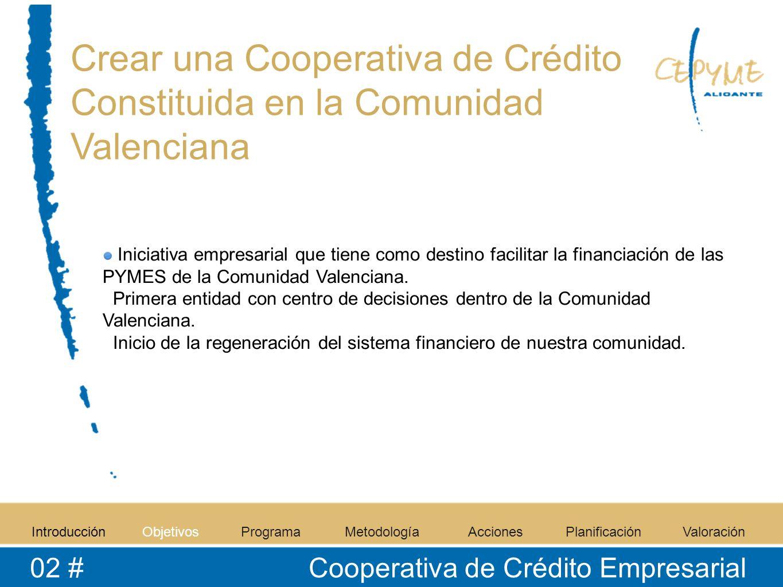 Crear una Cooperativa de Crédito Constituida en la Comunidad Valenciana Iniciativa empresarial que tiene como destino facilitar la financiación de las PYMES de la Comunidad Valenciana.